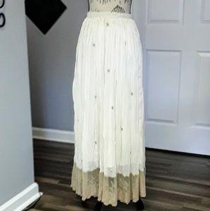 Badgley Mischka Gypsy Boho Flowy Long Sheer Skirt